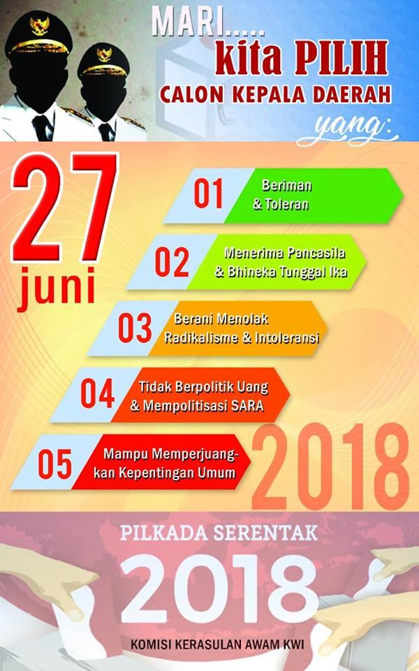 SERUAN KWI TERKAIT PILKADA SERENTAK 27 JUNI 2018