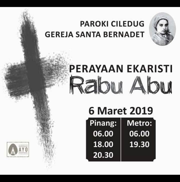 Jadwal Perayaan Ekaristi Rabu Abu 2019